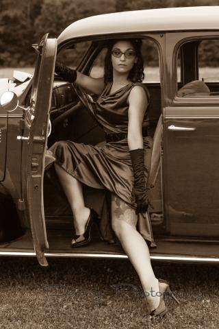 Girl in vintage car